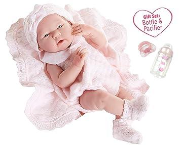 49c20f3d70164 Berenguer - Poupon réaliste petite fille - tenue rose en tricot avec  couverture
