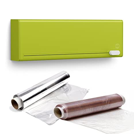 Emsa Smart - Dispensador y cortador de papel de aluminio y film transparente, color verde