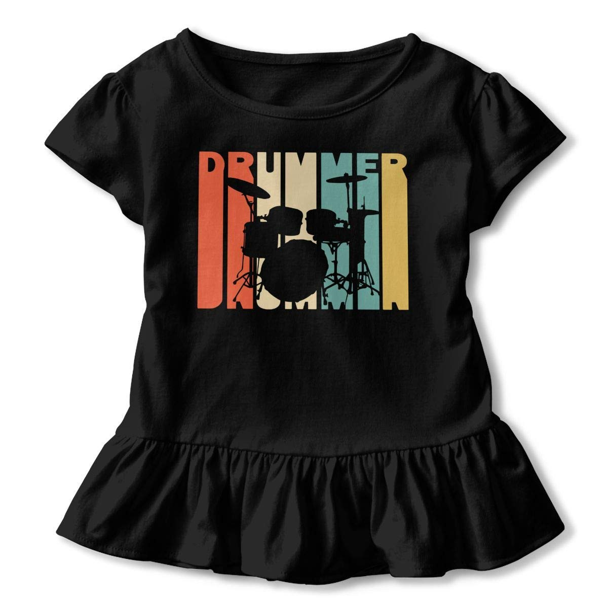 Casual Sweatshirt with Falbala 2-6T Short Sleeve Retro Style Drummer Silhouette T-Shirts for Kids