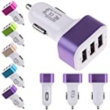 LipiWorld Style Car Charger, 3-Port USB Car Charger With Smart Sharing for iPad,iPhone,Samsung,Google,Sony,LG,HTC and More each USB Port Fast Charger Car Charger