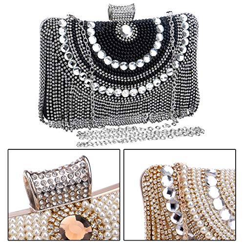 Bags Ladies Wedding Clutches Prom Evening Wallet Chain Black Purse PU Womens Dress Bag gCqFx844n
