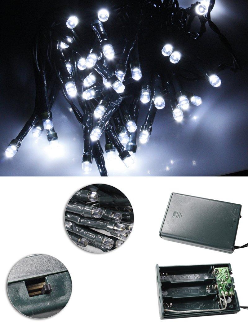 Vetrineinrete® Luci natalizie led a batteria per presepe e albero di natale catena luminosa 20 led luce bianca fredda 2 metri stringa serie mini lucciole F3