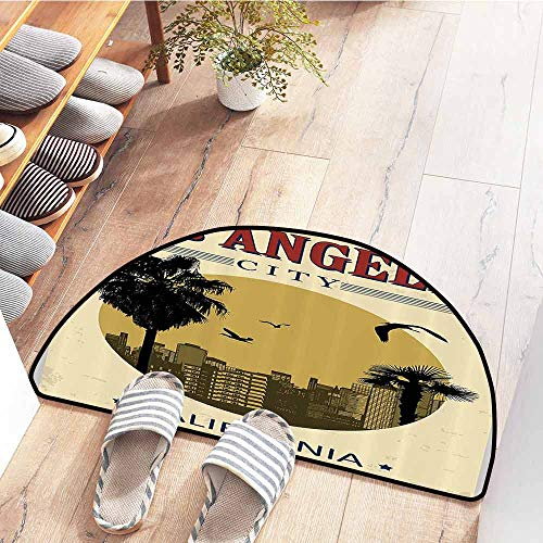 SEMZUXCVO Non-Slip Door mat Apartment Decor Collection Los Angeles City from California in Vintage Style Birds Vacation Journey Design Easy to Clean Carpet W30 x L18 Ivory Olive Red