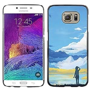 Caucho caso de Shell duro de la cubierta de accesorios de protección BY RAYDREAMMM - Samsung Galaxy S6 - Azul Paisaje de montaña