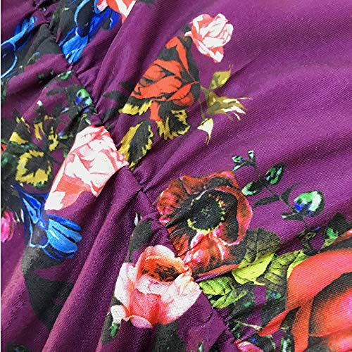 Floral Red Long VISLILY Pockets Wine with Women's Print Size Dresses Swing Pleated Plus Casual Sleeve qnqF6wYtrH