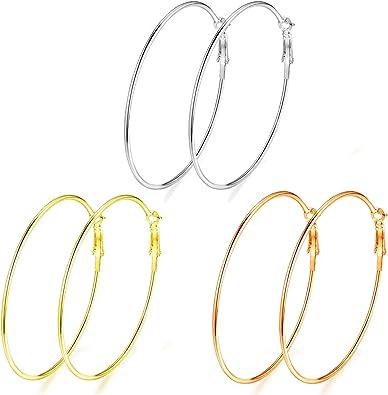 Women Ladies Stainless Steel Big Large Circle Hoop Dangle Earrings Multicolor