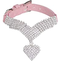 EXPAWLORER Rhinestone Dog Collar Pet Puppy Cat Crystal Collars Girl Jeweled Necklace Pink Extra Small