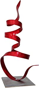 Statements2000 Small Modern Table Accent, Abstract Desk Decor, Garden Sculpture - Red Whisper Accent by Jon Allen - 18.5""