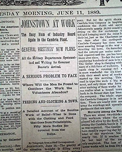 - JOHNSTOWN FLOOD Pennsylvania PA South Fork Dam Disaster w/ PRINTS 1889 Newspaper