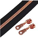 (Rose Gold Black) - YaHoGa 5 Rose Gold Metallic Nylon Coil Zippers by The Yard Bulk 10 Yards Black Tape with 25pcs…