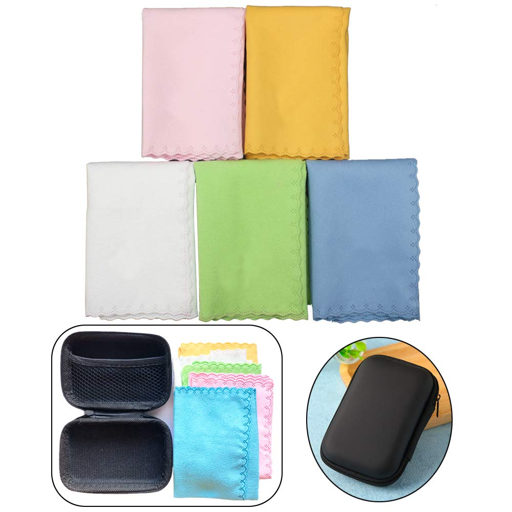 Luvay Polishing Cleaning Cloth Kits Set with Case (EVA Box) - 5 Pack, 10'' x 10'' Microfiber for Musical Instrument: Guitar, Piano, Violin, Sax, Clarinet, Flute Universal