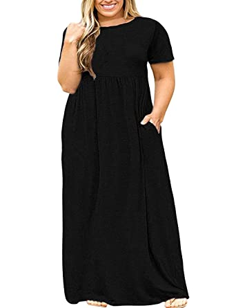 Kancystore Women Short Sleeve Plus Size Long Maxi Dress with Pockets ...