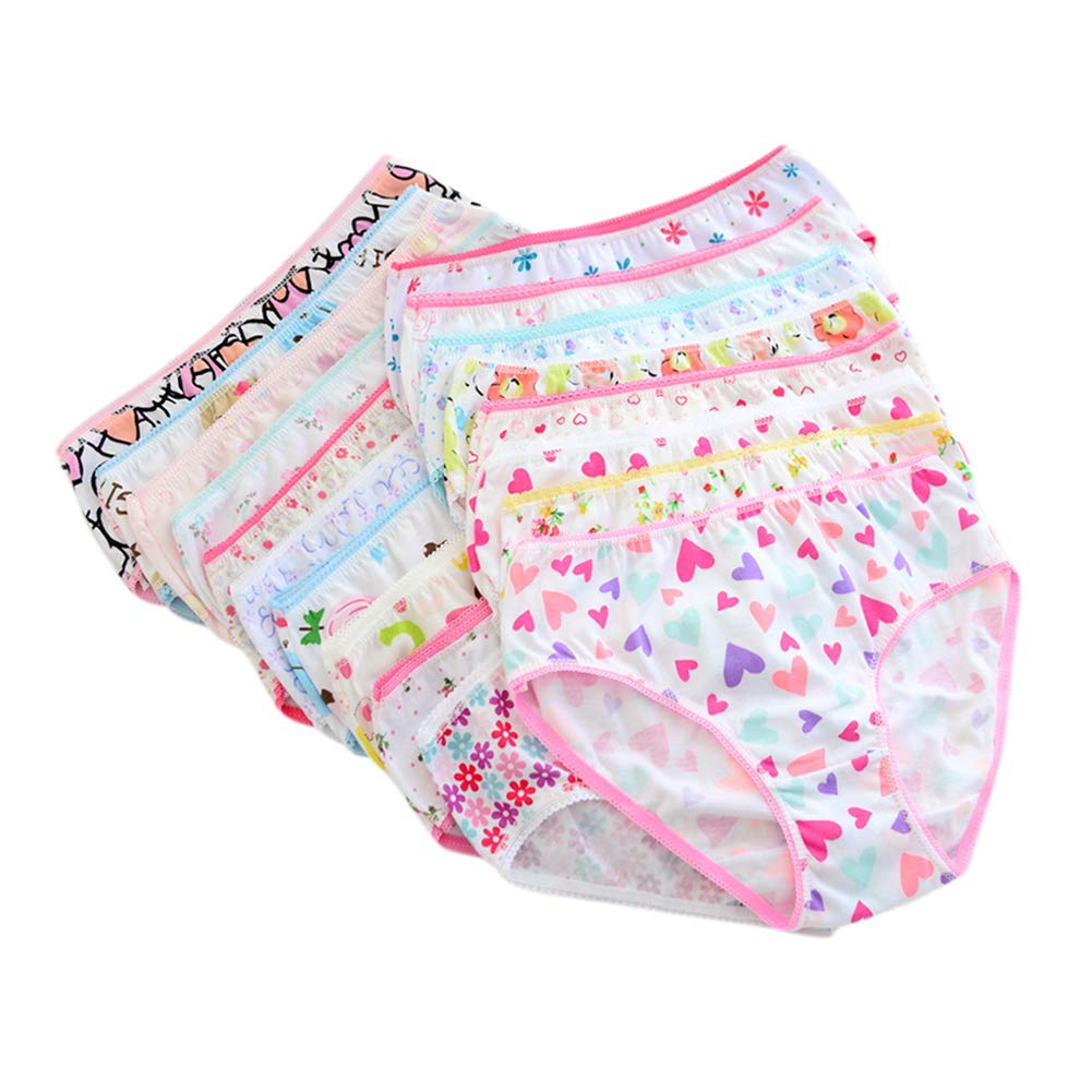 elegantstunning 12PCS/Set Children Girls Underpants Cotton Briefs Cute Cartoon