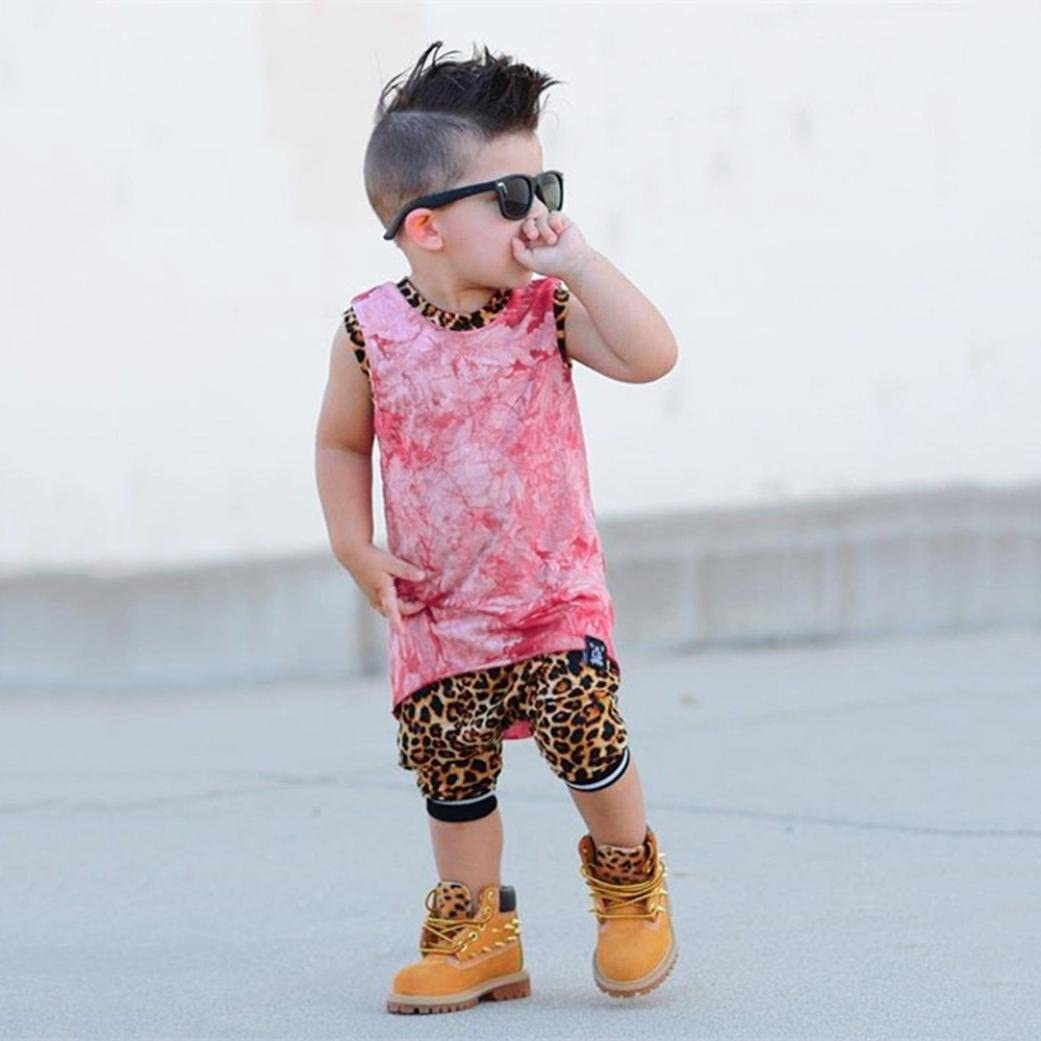 Efaster Toddler Kids Baby Boys Girls Sleeveless Tops+Leopard Shorts Outfits Set