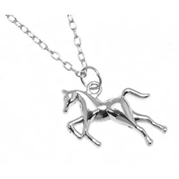 Silver coloured horse necklace amazon sports outdoors silver coloured horse necklace mozeypictures Image collections