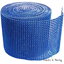 "Diamond Mesh Wrap Roll Rhinestone Crystal Ribbon 4.5"" x 10 yards (Royal Blue)"