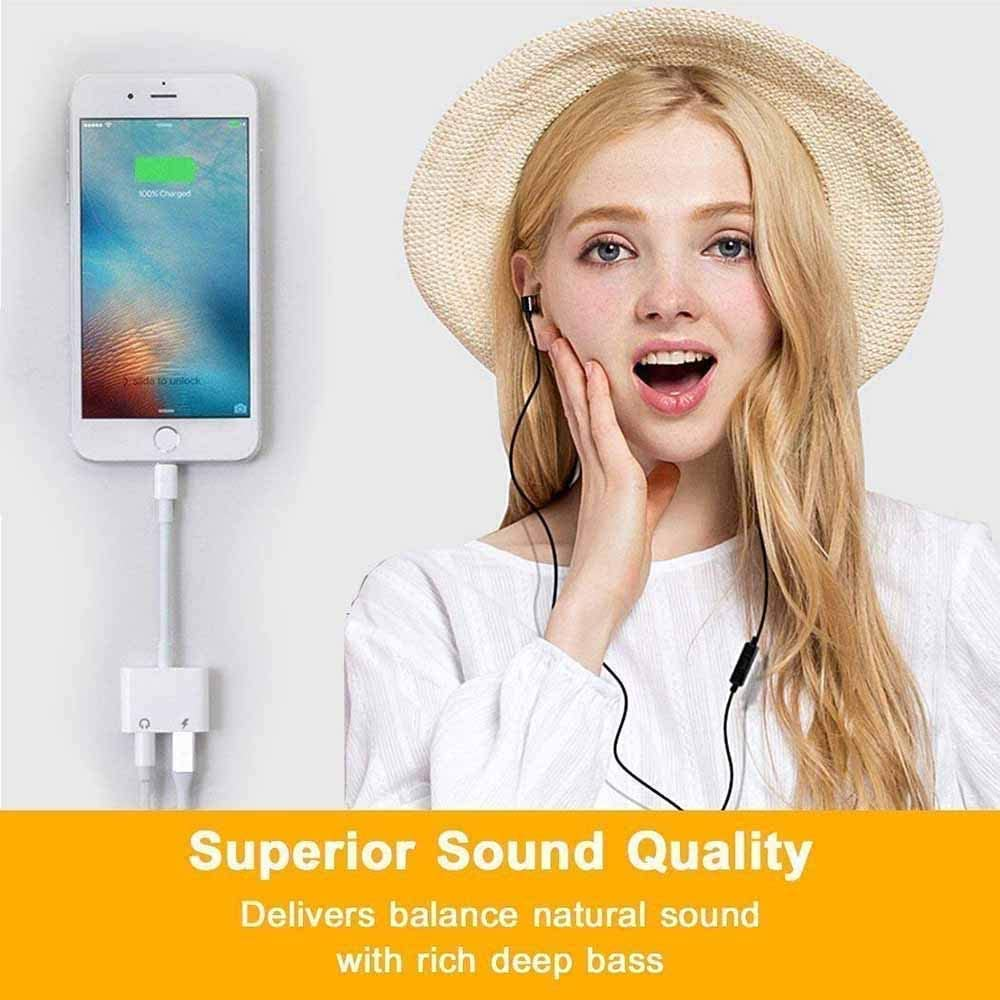 3.5mm Headphones Jack Adapter for iPhone 2 in 1 to Earphone Dongle Audio /& Charger for iPhone 11//11 Pro//11 Pro Max//X XR XS XS Max iPhone 7 7P 8 8P Compatible All iOS Systems