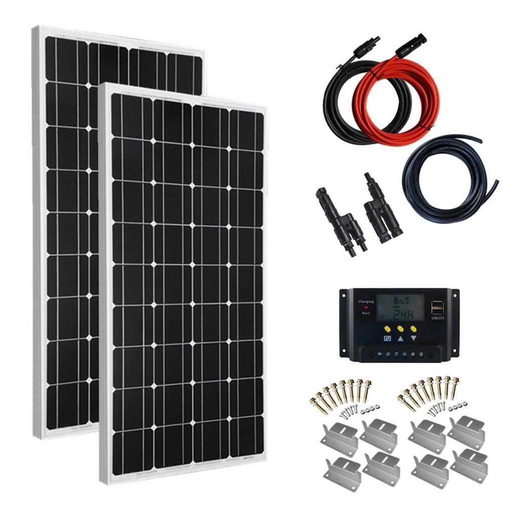 Giosolar Solaranlage 200 Watt (2X100W) Solaranlage Basic-Starter 12V - Solar Bausatz -Gartenhaus Neu Solar Garten Set Camping Wohnmobil Inselsystem Solarzelle-Solarset Komplette