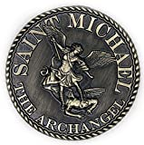 38mm dia St Michael Prayer Coin - Bronze Antique