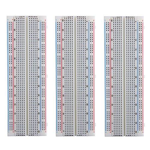 Elegoo 3pcs MB-102 Breadboard 830 Point Solderless Prototype PCB Board Kit for Arduino Proto Shield Distribution Connecting Blocks