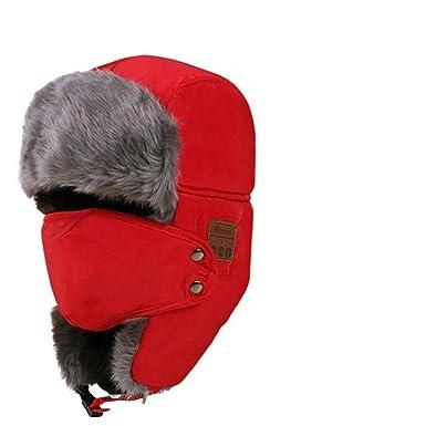 6f4be2413ef Men Women Winter Warm Bluetooth Caps Headset Snow Ski Cap Thick Fleece Fur  Bomber Hat Earflap