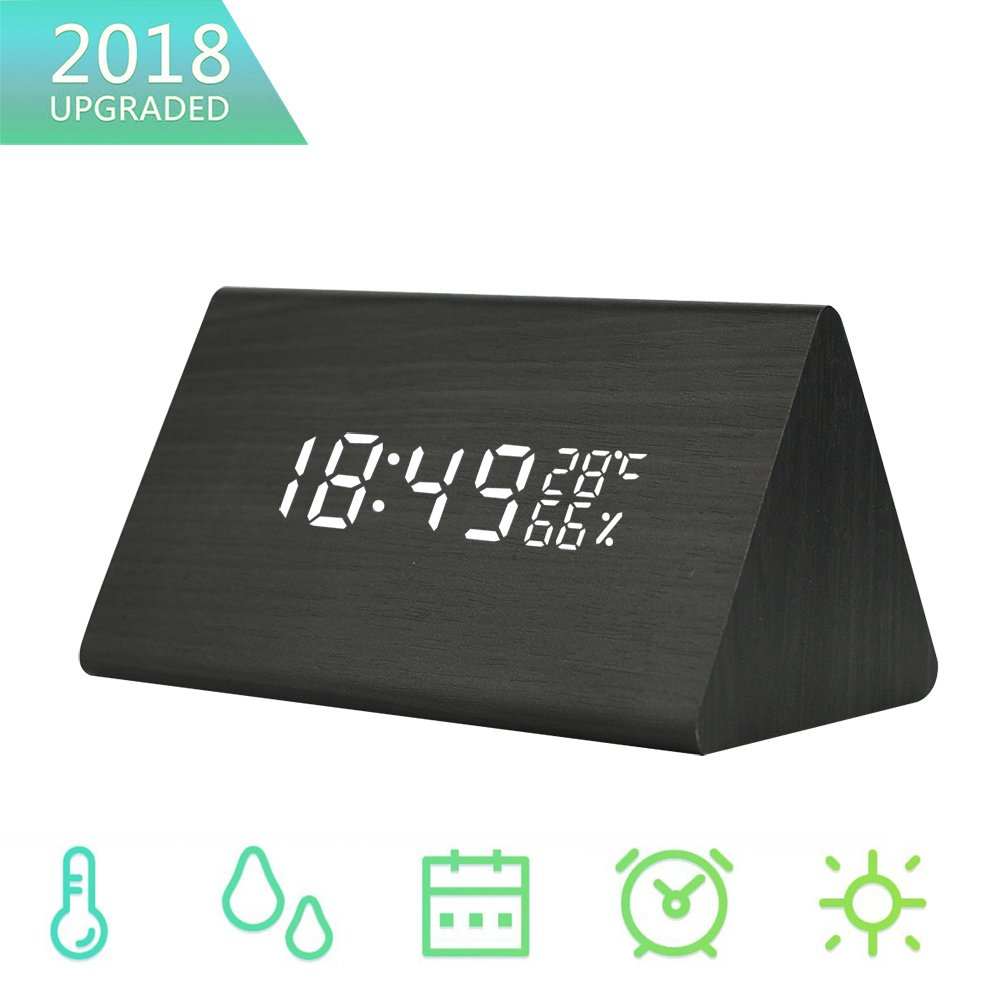 Kedious LED Alarm Clock, 2018 New Version Wooden Digital Desk Clocks with 3 Alarm Sets, 12/24 Time Mode,Temperature and Humidity Display