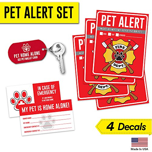 Pet Alert Fire Rescue Sticker - (4) 5 x 4 Window Door Decal - (2) Animal Care Wallet Cards - (1) Pet Home Alone Key Tag - In Case of Emergency Sign Kit - Safety Save Our Cat Dog Inside Accessories