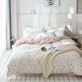 HIGHBUY Floral Printed Kids Duvet Cover Set Full Cotton Pink for Girls Reversible Garden Style Bedding Sets Queen with Zipper Closure for Children Comforter Covers Lightweight Soft