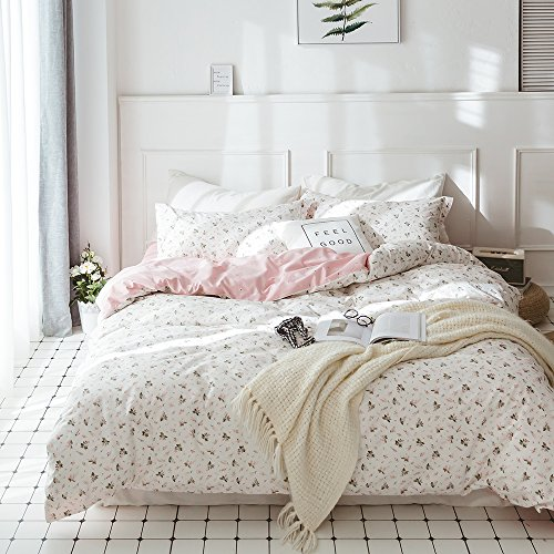HIGHBUY Floral Printed Kids Duvet Cover Set Full Cotton Pink Girls Reversible Garden Style Bedding Sets Queen Zipper Closure Children Comforter Covers Lightweight Soft