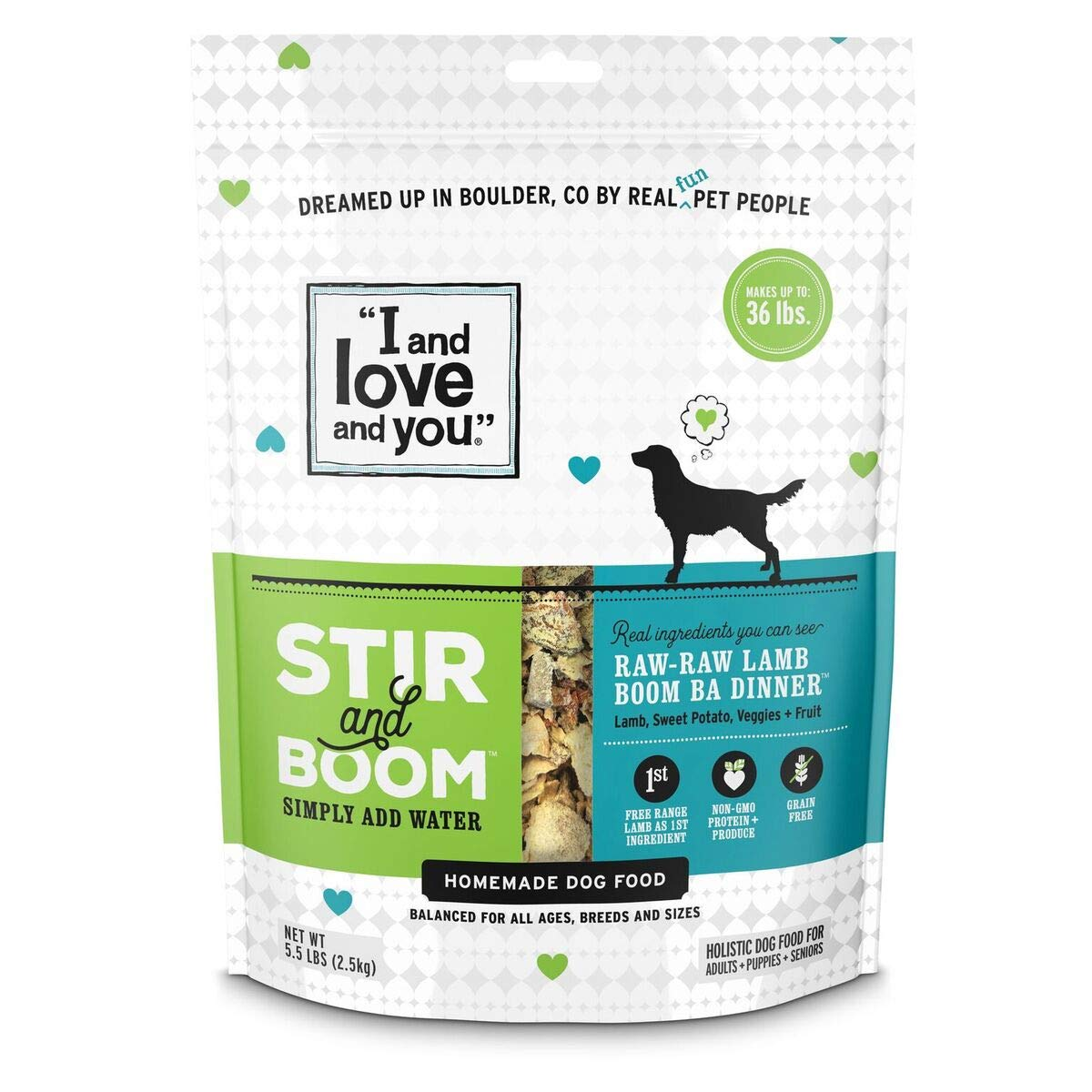 I and love and you Stir & Boom Dehydrated Freeze Dried Raw Dog Food, Lamb, 5.5-Pound Bag by I and love and you