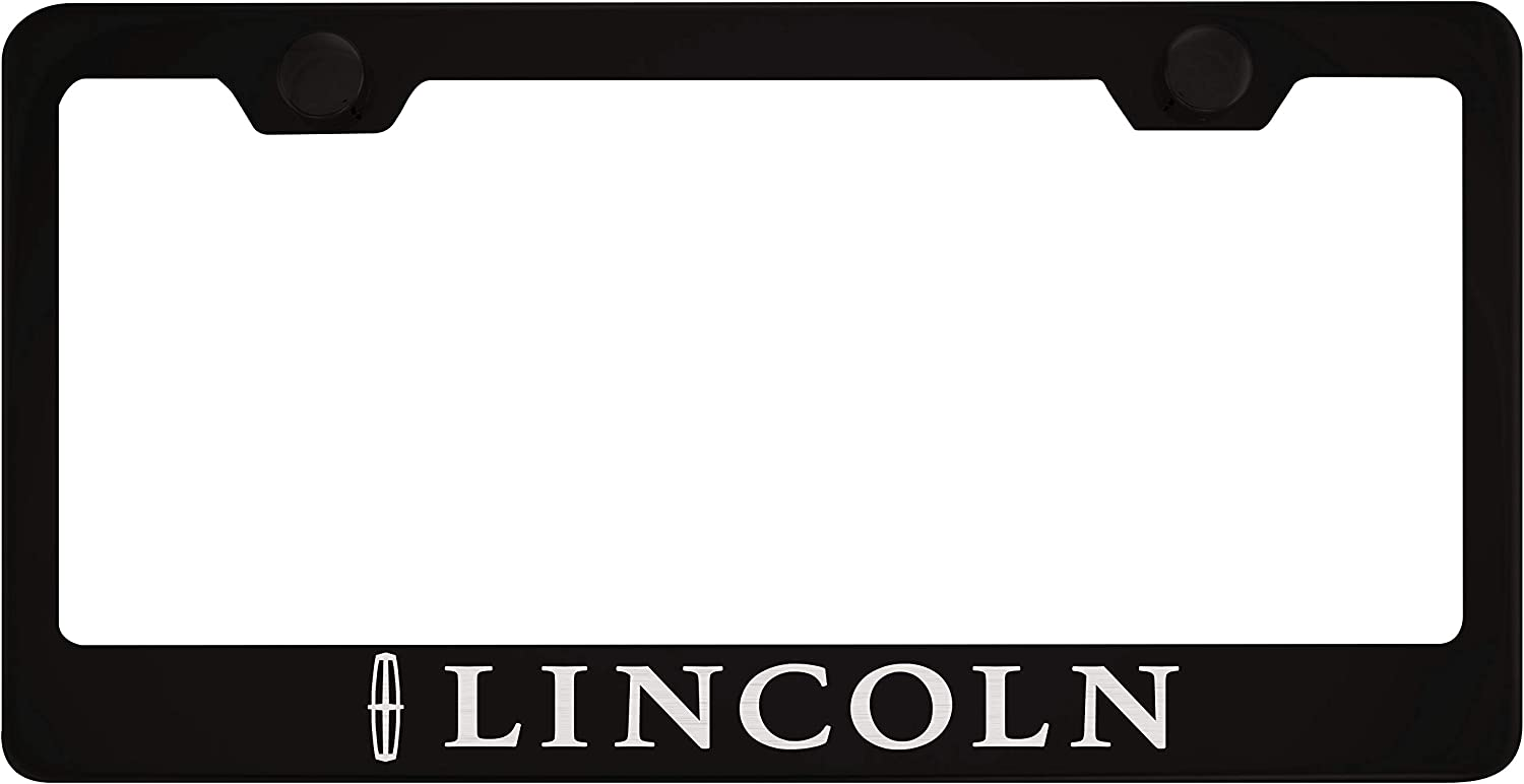 Lincoln Black License Plate Frame with Caps