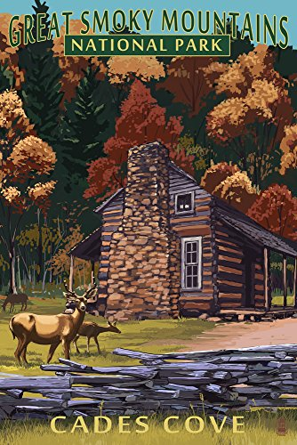 Great Smoky Mountains National Park, Tennesseee - Cades Cove and John Oliver Cabin (9x12 Art Print, Wall Decor Travel Poster)