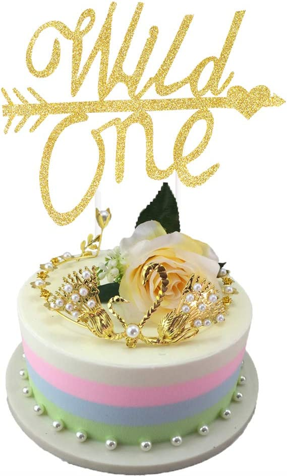 Fantastic Amazon Com Eokeanon Glod Glitter Wild One Cake Topper For Baby Personalised Birthday Cards Cominlily Jamesorg