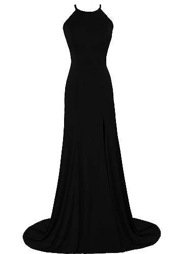 Vegeron Women's Halter Top Mermaid Evening Prom Dress for Juniors with High Slit