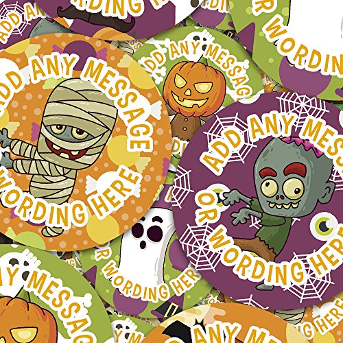 Cool Halloween Characters Personalized Sticker Labels (6 Stickers
