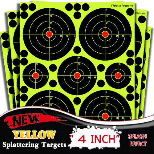 Atflbox Shooting Target 4Inch multiple circles Splatter and Adhesive Target Paper.Shooting outdoor and indoor .Rective shooting targets for Gun - Rifle - Pistol - AirSoft - Air Rifle for 25Pack by Atflbox