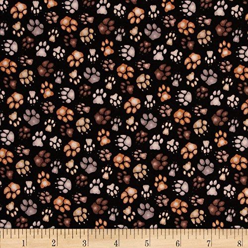 Elizabeth's Studio Big Cats Paw Print Black Fabric by The Yard, Black