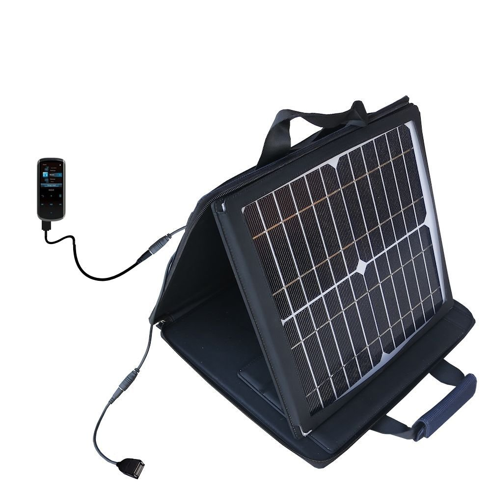 Gomadic SunVolt Powerful and Portable Solar Charger suitable for the RCA M4508 Lyra Digital Media Player - Incredible charge speeds for up to two devices