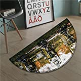 stevenhome Balinese door mat indoors Fountain in Ancient Temple Bali Asia Tropics Landmark Travel Destinations Photo Customize Bath Mat with Non Slip Backing Green White
