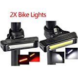 DEALBOX 2 PCS SET waterproof USB Rechargeable Cob Bicycle Bike Front Rear 6 Modes Tail LED Light
