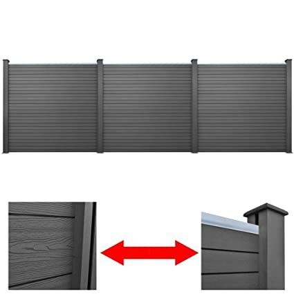 Charmant 3 Pcs WPC Square Garden Fence Panels Wall Outdoor Patio Barrier, Gray