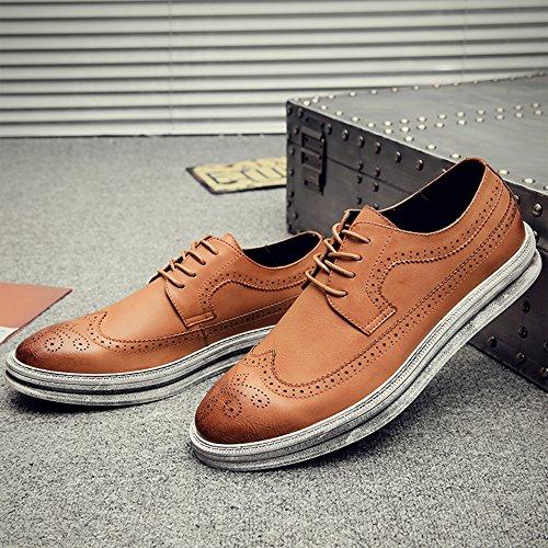 fefec93b5991b YANXU Mens Casual Fashion Leather Sneaker Wingtip Lace Oxford Dress ...