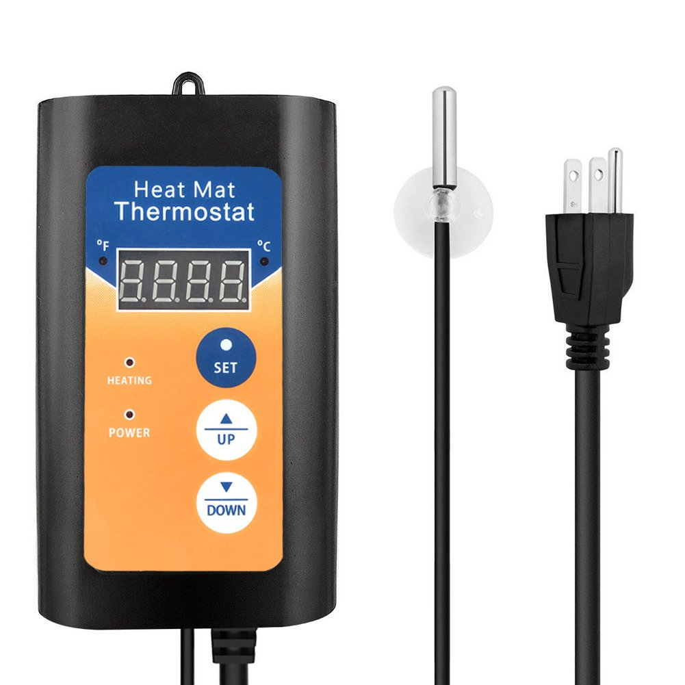 HiHydro Digital Seedling Heat Mat Thermostat Controller 68-108F for Seed Germination, Reptiles and Brewing (Thermostat)