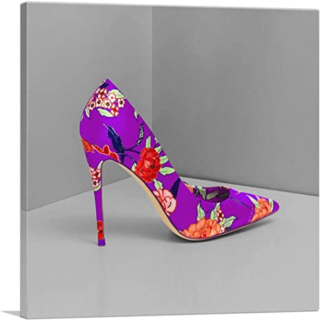 Purple Pink Roses Flower Shoes Stiletto Fashion Colorful Watercolor Prints Canvas Posters