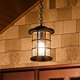 Luxury Craftsman Outdoor Pendant Light, Medium Size: 15.5''H x 10''W, with Tudor Style Elements, Wrought Iron Design, Natural Black Finish and Seeded Glass, UQL1048 by Urban Ambiance