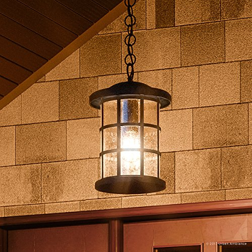 Luxury Craftsman Outdoor Pendant Light, Medium Size: 15.5''H x 10''W, with Tudor Style Elements, Wrought Iron Design, Natural Black Finish and Seeded Glass, UQL1048 by Urban Ambiance by Urban Ambiance