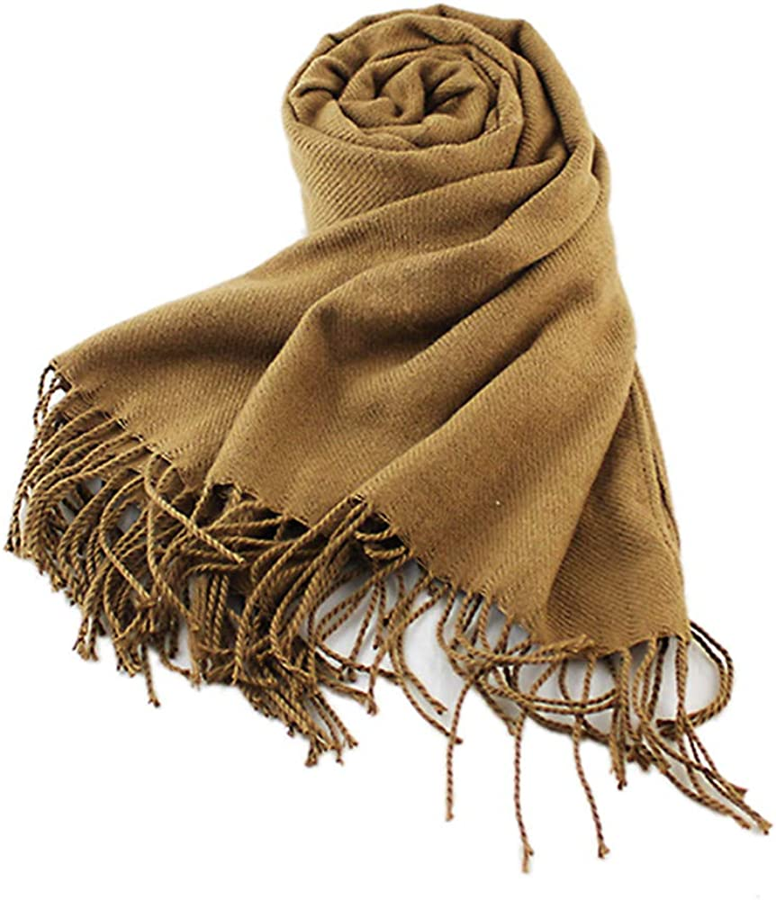 Feelontop Fashion Women Accessories Solid Camel Color Winter Autumn Warm Cotton Soft Big Wide Scarves with Tassel