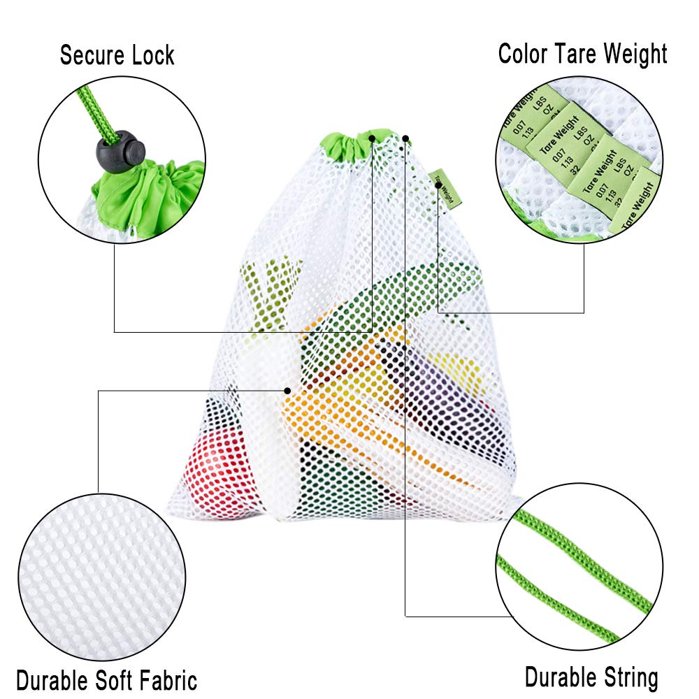 Reusable Mesh Produce Bags 3 Sizes Set of 9 See Through Mesh Bags with Tare Weight Tags for Fruit Vegetable