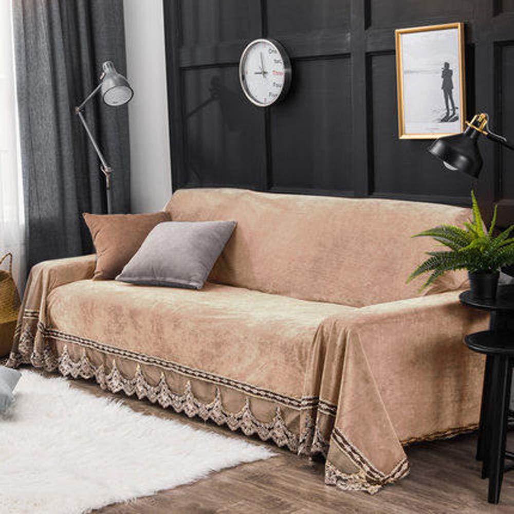 Plüsch Sofa Schonbezug, Vintage Spitze Wildleder Couch Cover Anti-Rutsch-Möbelschutz Warmhalten,D,200×300cm(79×118inch)