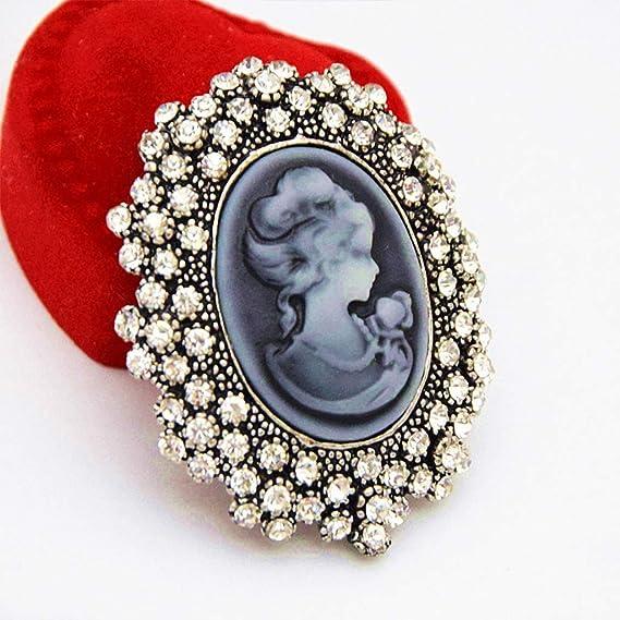 Perla ZOOMY Wedding Party Queen Lady Vintage Dise/ño Victoriano Broche de Bronce de camafeo